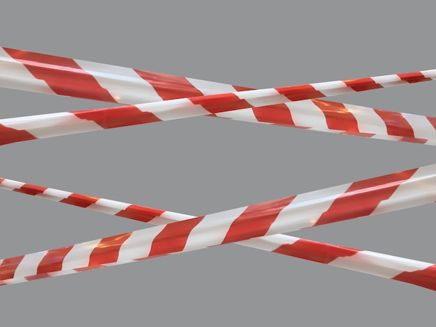 Red and white warning lines of barrier tape prohibit passage. barrier tape on gray isolate. barrier that prohibits traffic. danger unsafe area warning do not enter. concept of no entry. copy space