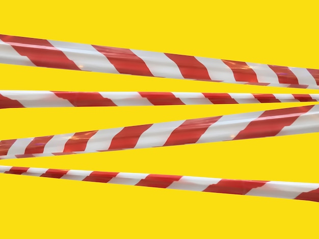 Red and white warning lines of barrier tape prohibit passage. barrier tape on yellow isolate. barrier that prohibits traffic. danger unsafe area warning do not enter. concept of no entry. copy space