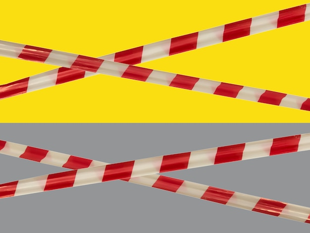 Red and white warning lines of barrier tape prohibit passage. barrier on yellow and gray isolated. cross that prohibits traffic. danger unsafe area warning do not enter. concept no entry. copy space