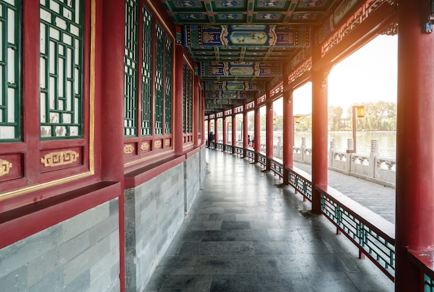 Red windows and pillars in temples in beijing, china