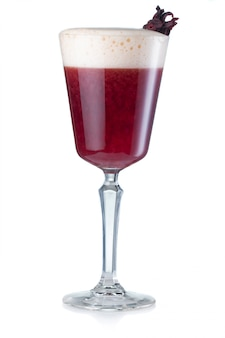 Red wine alcohol cocktail isolated on white