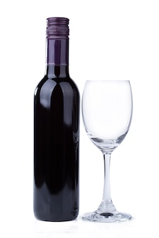 Red wine bottle and glass on white background.