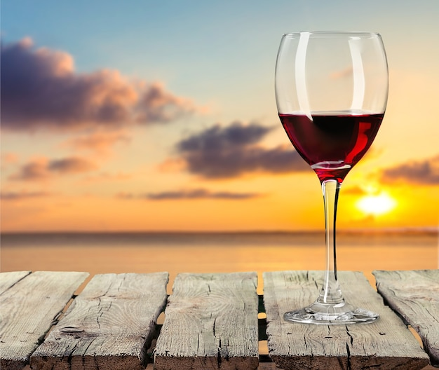 Red wine bottle and glass,