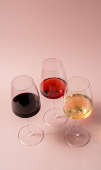 Red wine glass and rose wine glass and white wine glass