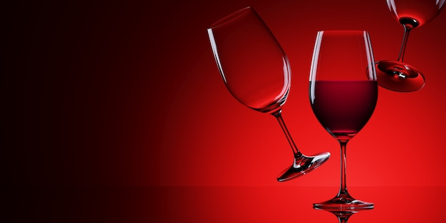 Red wine glasses isolated on red background. 3d rendering illustration.