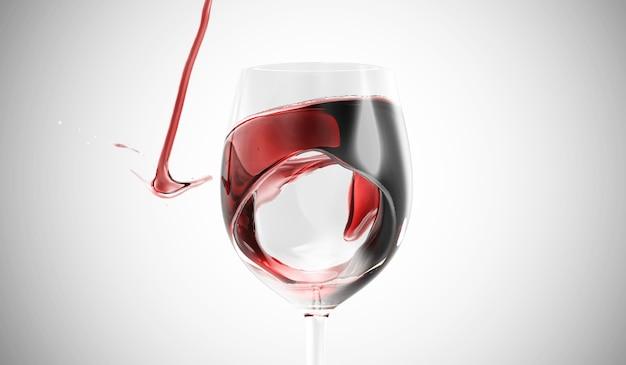 Красное вино наливается в бокал с брызгами по градиенту
