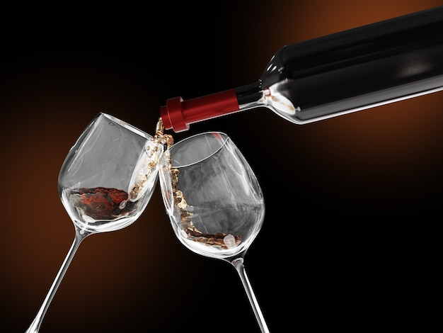 Red wine poured into a two glass