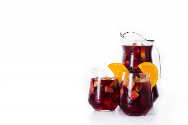 Red wine sangria isolated on white