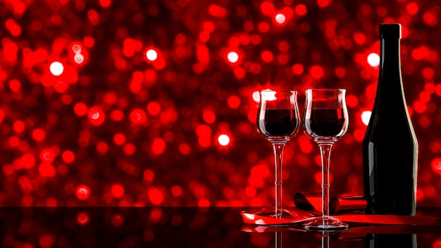 Red wine with bokeh background.