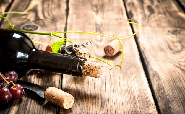 Red wine with a vine branch . on a wooden table.