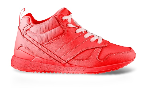 The red women's winter sneakers isolated on white. pair of trendy women