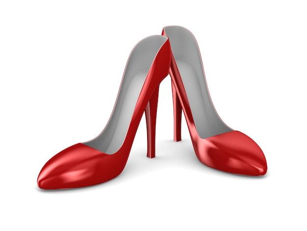 Красные женские туфли на белом пространстве. изолированные 3d иллюстрации