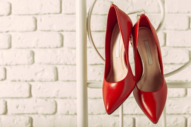 Red women shoes in room