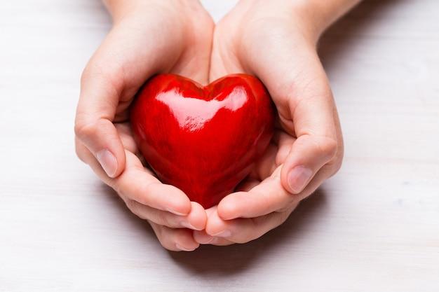子供の手の中の赤い木の心。