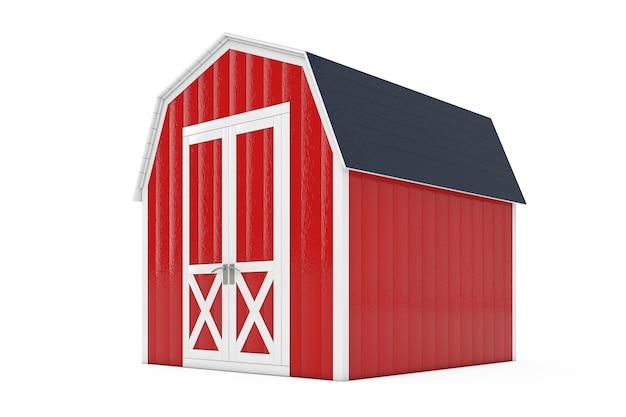 白い背景の上の園芸工具のための赤い木の小さい家の小屋の貯蔵の小屋。 3dレンダリング