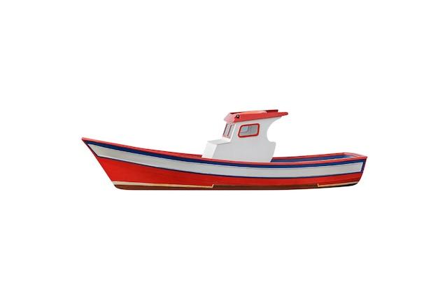 白で隔離の赤い木製漁船