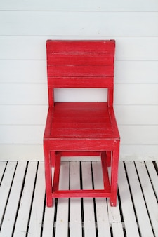 Red wooden retro chair outdoor