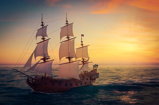 赤い木製のヴィンテージの背の高い帆船、キャラベル船、海賊船、または外洋の軍艦の極端なクローズアップ。 3dレンダリング