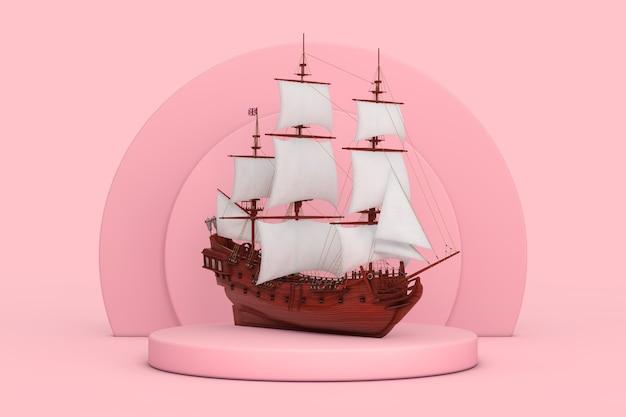 분홍색 배경에 있는 분홍색 실린더 제품 무대 받침대 위에 붉은 나무 빈티지 키 큰 범선, 카라벨, 해적선 또는 군함. 3d 렌더링