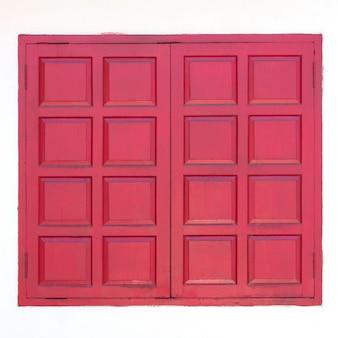 Red wooden window