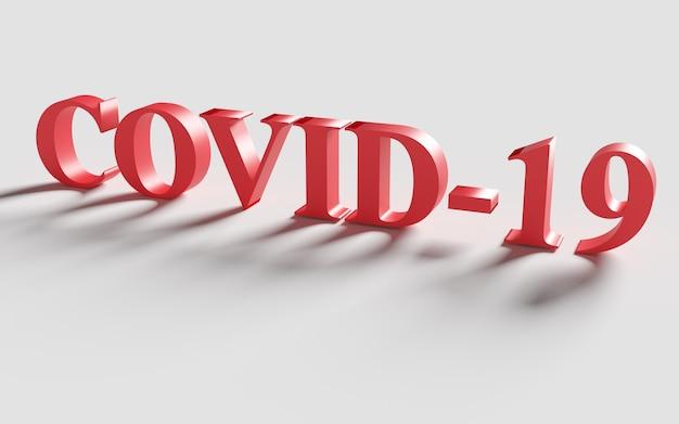 赤い言葉covid-19影付き