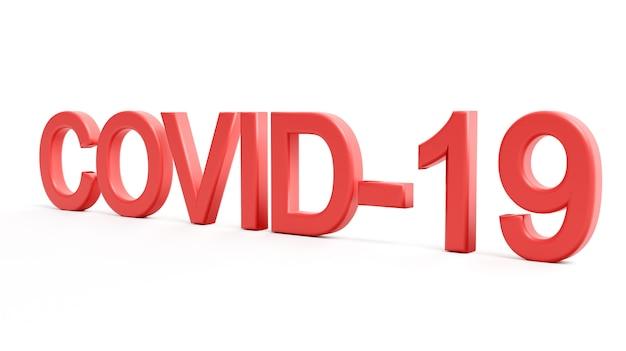 Красные слова covid-19, изолированные на белом