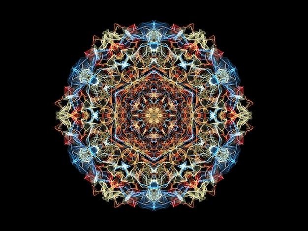 赤、黄色、青の抽象的な炎のマンダラの花、観賞用の花のラウンドパターン