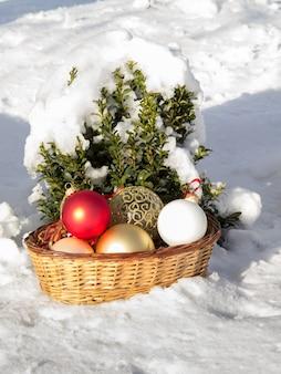 Красные, желтые и белые рождественские шары в плетеной корзине и маленькой сосне, покрытой снегом на заднем плане. зеленая ель и игрушечные шары в зимнем городском парке. рождественские или новогодние композиции.