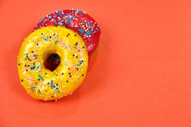 Red and yellow donuts.