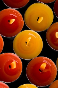 Red and yellow flaming candles background