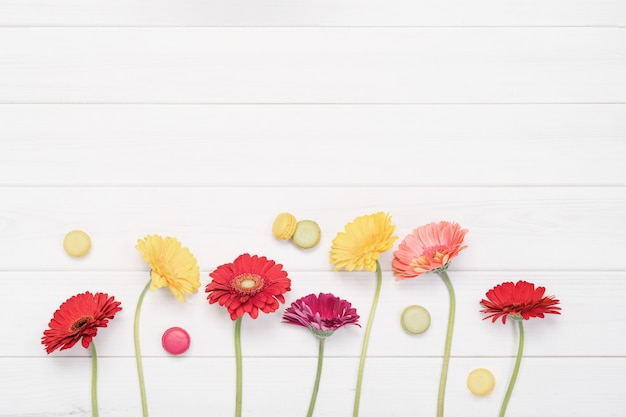 Red, yellow gerbera flowers and macaroons in wooden background.