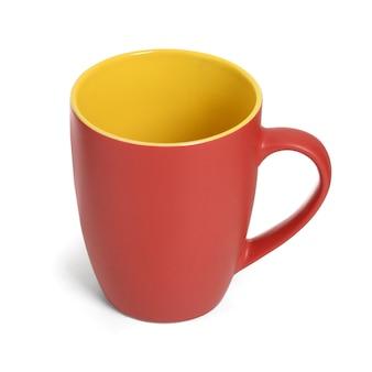 Red and yellow mug on white
