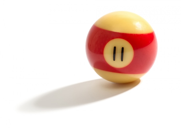 Red and yellow number 11 snooker ball