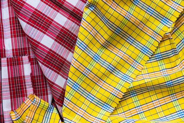 Red and yellow tartan pattern textile