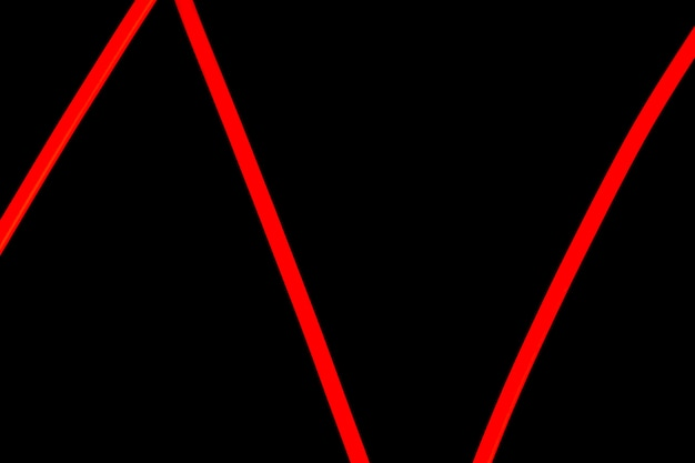 Red zig zag neon light on black background