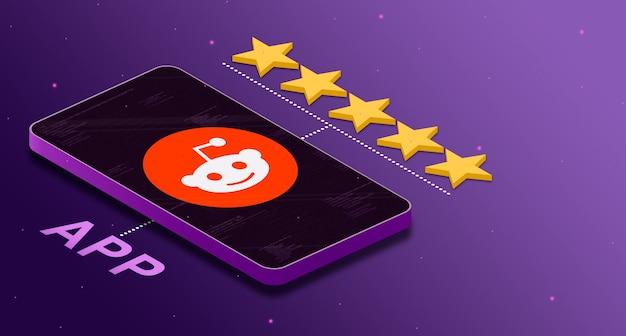 5 성급 3d 등급으로 휴대 전화의 reddit 애플리케이션 로고