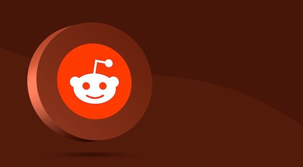 Минималистичный дизайн логотипа reddit на круге 3d