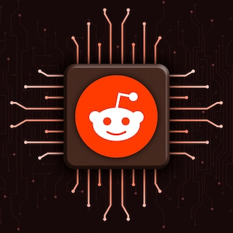 현실적인 cpu 기술 배경 3d에 reddit 로고