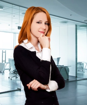 Redhead business woman.