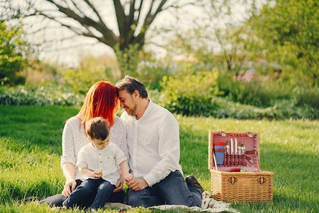 白いブラウスの赤毛の母は彼女の美しい男と芝生に座っている