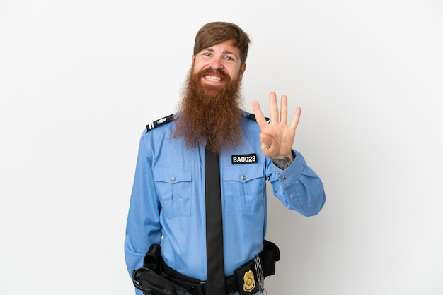 흰색 배경에 고립 된 빨간 머리 경찰 남자 행복 하 고 손가락으로 4 세