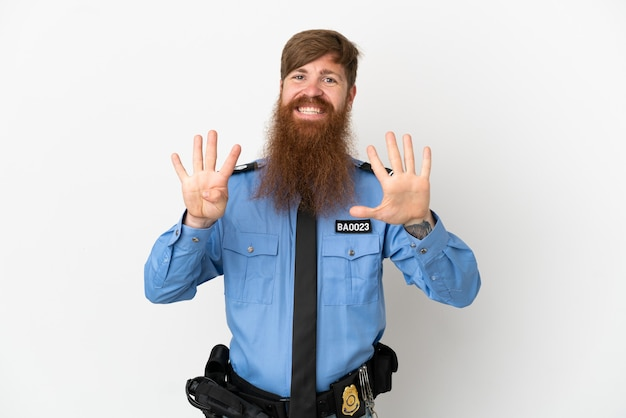 Redhead police man isolated on white background counting nine with fingers