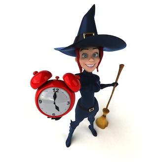 Рыжая ведьма держит часы