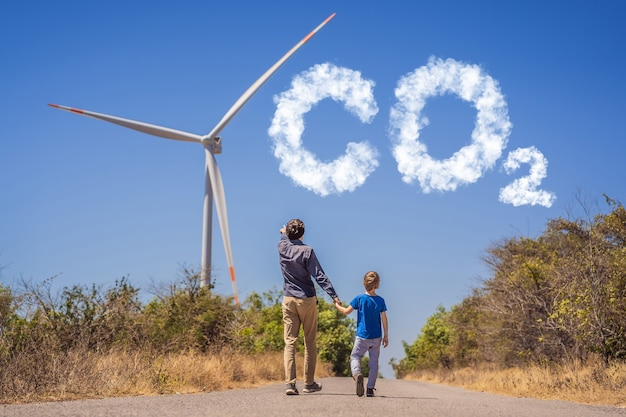 Reducing co levels graph of the decline in carbon dioxide levels alternative energy wind farm and