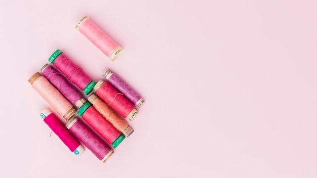 Reels of warm colors yarn