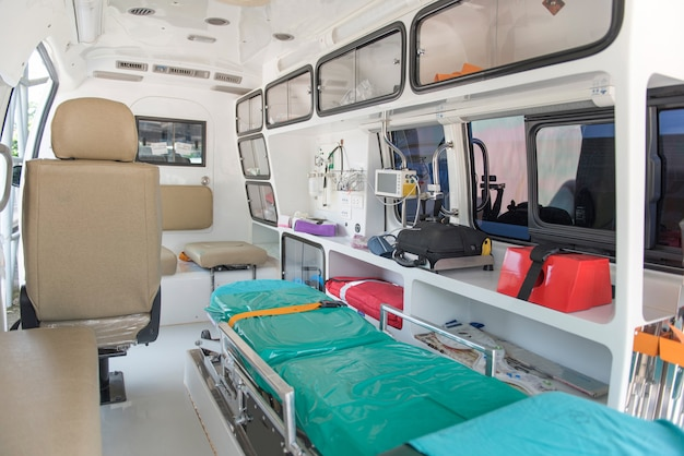 Refer car of hospital, inside of emergency car