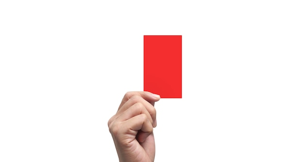 Referee hand holding red card on white background