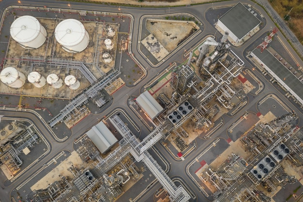 Refinery oil and petroleum zone in thailand aerial view