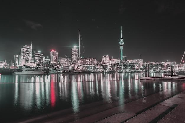 Reflected city at night