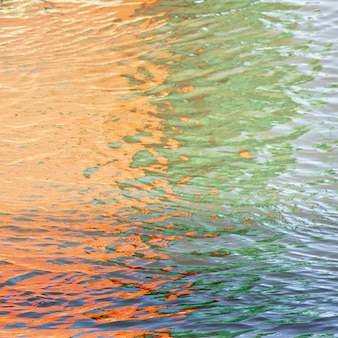 Reflection of the beautiful and colorful lights on the ripples on the water
